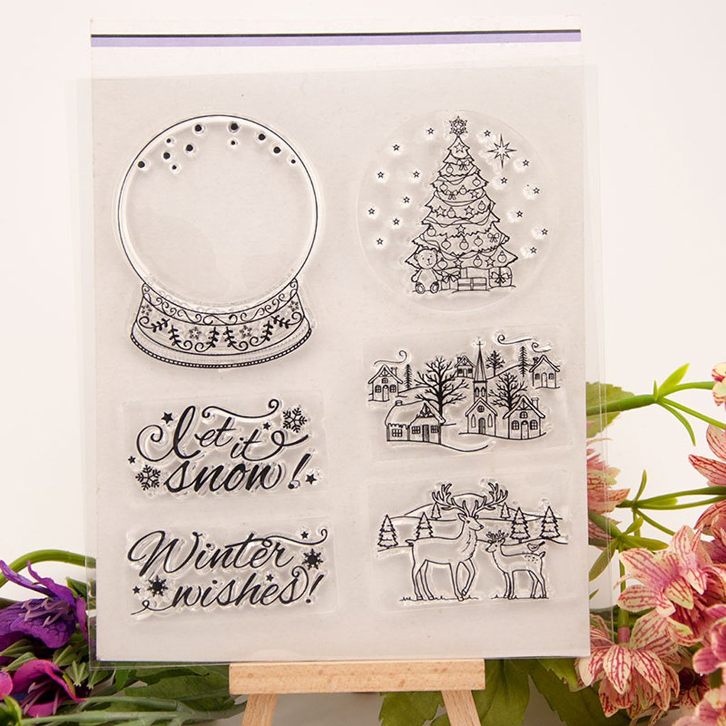 Seaskyer Halloween Christmas Theme Clear Stamps for DIY Scrapbooking Album Paper Card Making,Scrapbook Embossing Album Decor Craft (Christmas Tree and Deer