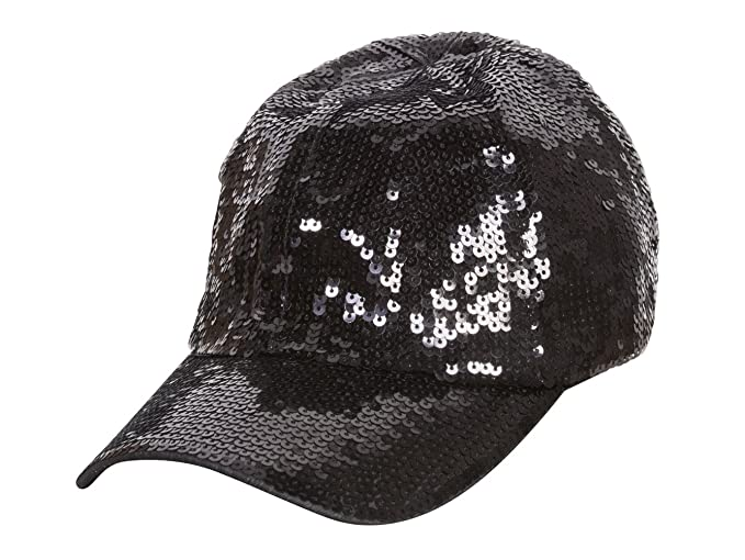 Glitter Sequin Elastic Fit Baseball Hat - Black at Amazon Women s ... e9710b5a465e
