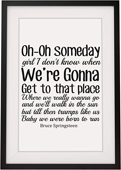 Bruce Springsteen Born To Run Lyrics Framed Print With Mount Design 3