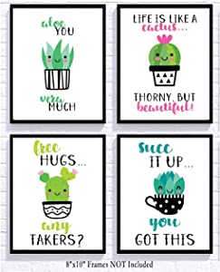 Adorable Cactus Succulent Uplifting Wall Art Decor Sayings (Set of Four) Prints Kawaii Cutesy Cheery