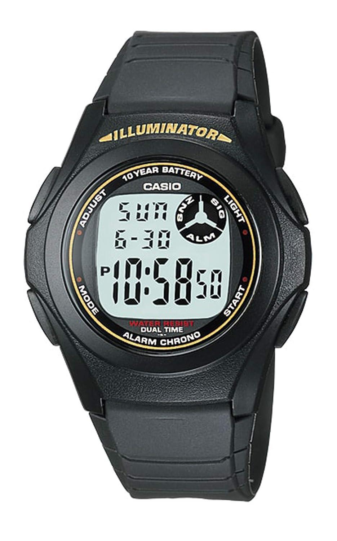 Casio F-200W-9ADF - Reloj (Reloj de Pulsera, Silicona, Negro, Silicona, Negro, Alrededor)