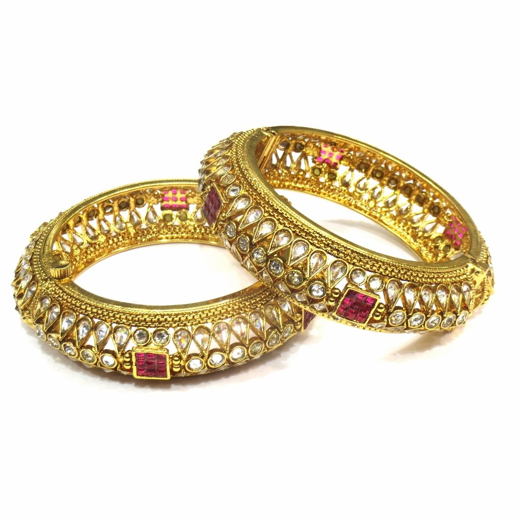 Jewelshingar Jewellery Antique Gold Plated Bangles For Girls ( 16218-m-ruby-2.8 )