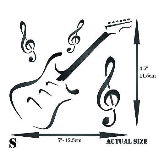 Plantilla de guitarra - Instrumento musical reutilizable Treble Clef Music Stencils para pintar - Uso en proyectos de papel scrapbook diario paredes suelos ...