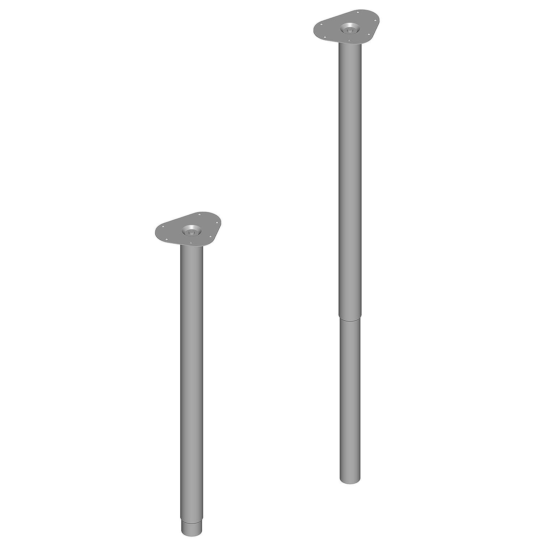 Element System 4 unidades de pata de mesa de altura ajustable/pata telescópica ajustable/pata de mesa ajustable/Long. 80-120 cm/Ø 50 mm/aluminio blanco / 3 colores 18133-00337