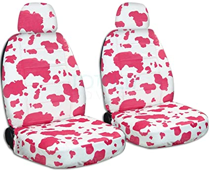 Animal Print Car Seat Covers W 2 Separate Headrest Pink White Cow