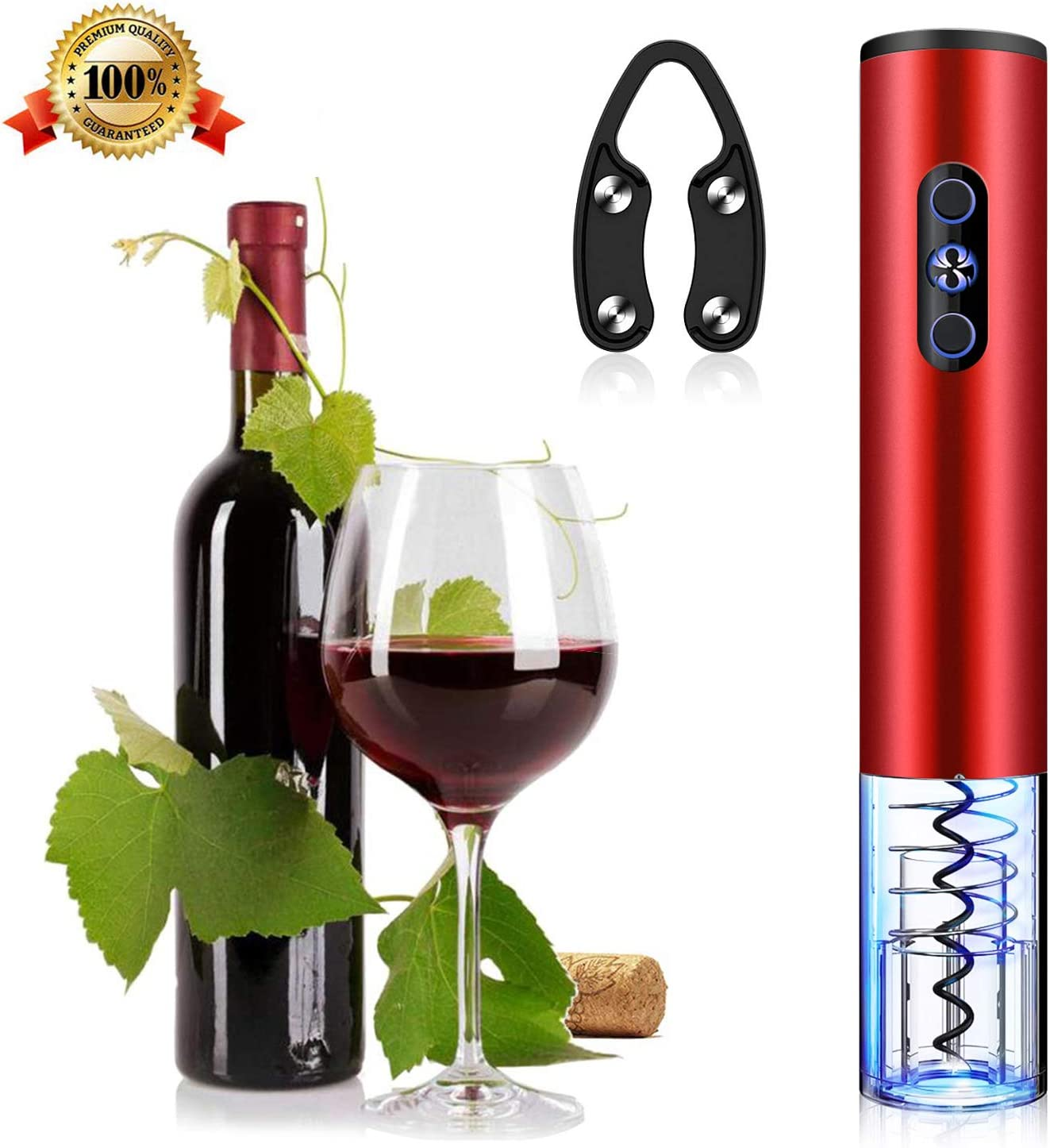 Electric Wine Opener, 6s Open the Cap Electric Wine Bottle Corkscrew, Air Pressure Pump Opener with Foil Cutter, Suit All kinds of Wine Red Liquor Support Party Marriage Meeting Dinner Winery Bar. Red