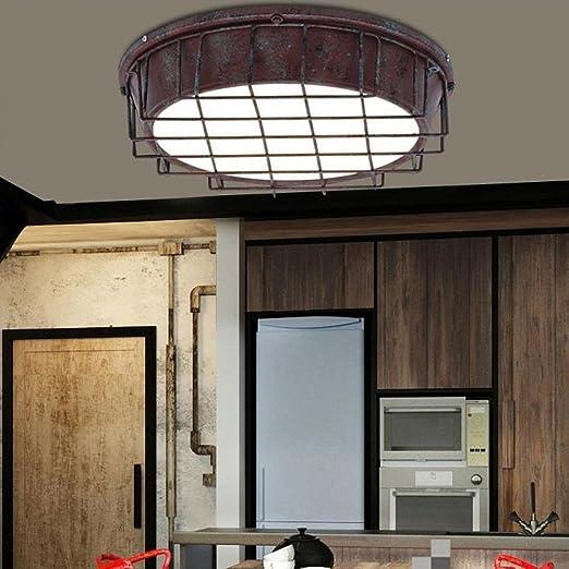 QIANGQIEstilo industrial retro Luz de techo LED Plafones de diseño Personalidad elegante Creatividad sala restaurante Luz de techo del balcón 24W [Clase A de ahorro de energía]: Amazon.es: Iluminación
