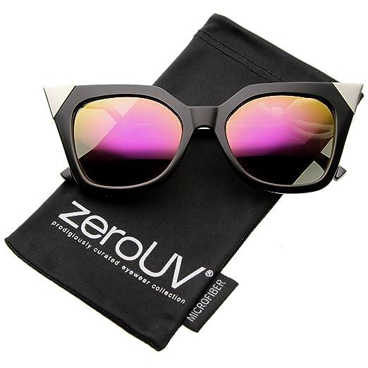 85e42c3ac Women's Bold Metal Accent Zigzag Temple Colored Mirror Lens Cat Eye  Sunglasses 52mm (Black-