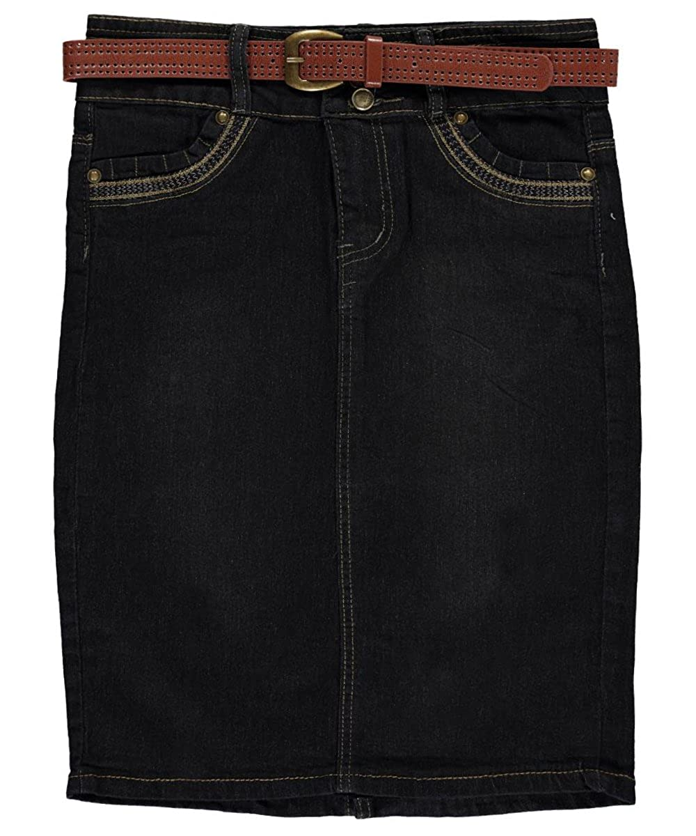 No Fuze Big Girls'Zigzag Stitch Belted Denim Skirt