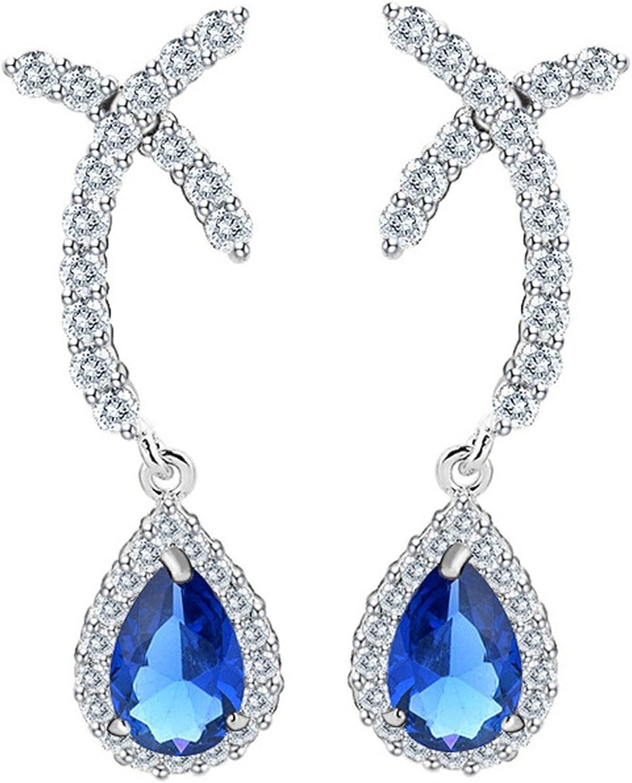 Beydodo Pendientes Chapado en Oro Pendientes Gota de Agua Pendientes de Mujer Pendientes Azul Turquesa Cristal Pendientes Azul