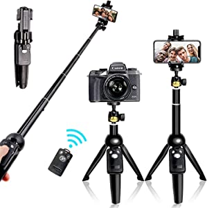 Selfie Stick Tripod Bluetooth, 40 Inch Extendable Flexible Selfie Stick Tripod with Detachable Wireless Remote, Compatible with iPhone Xs Max/XS/XR/iPhone X/iPhone 8 Plus/iPhone 7/iPhone 6 Plus/Galaxy