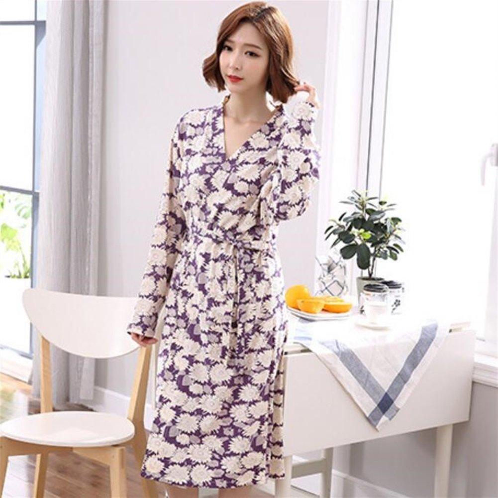 Soft Cozy Ladies Girls Elegant Cotton Bathrobe Long Sleeves Flowers Pattern Pajamas Cardigan Bathrobe Bathrobe for Women (Size   XXL)