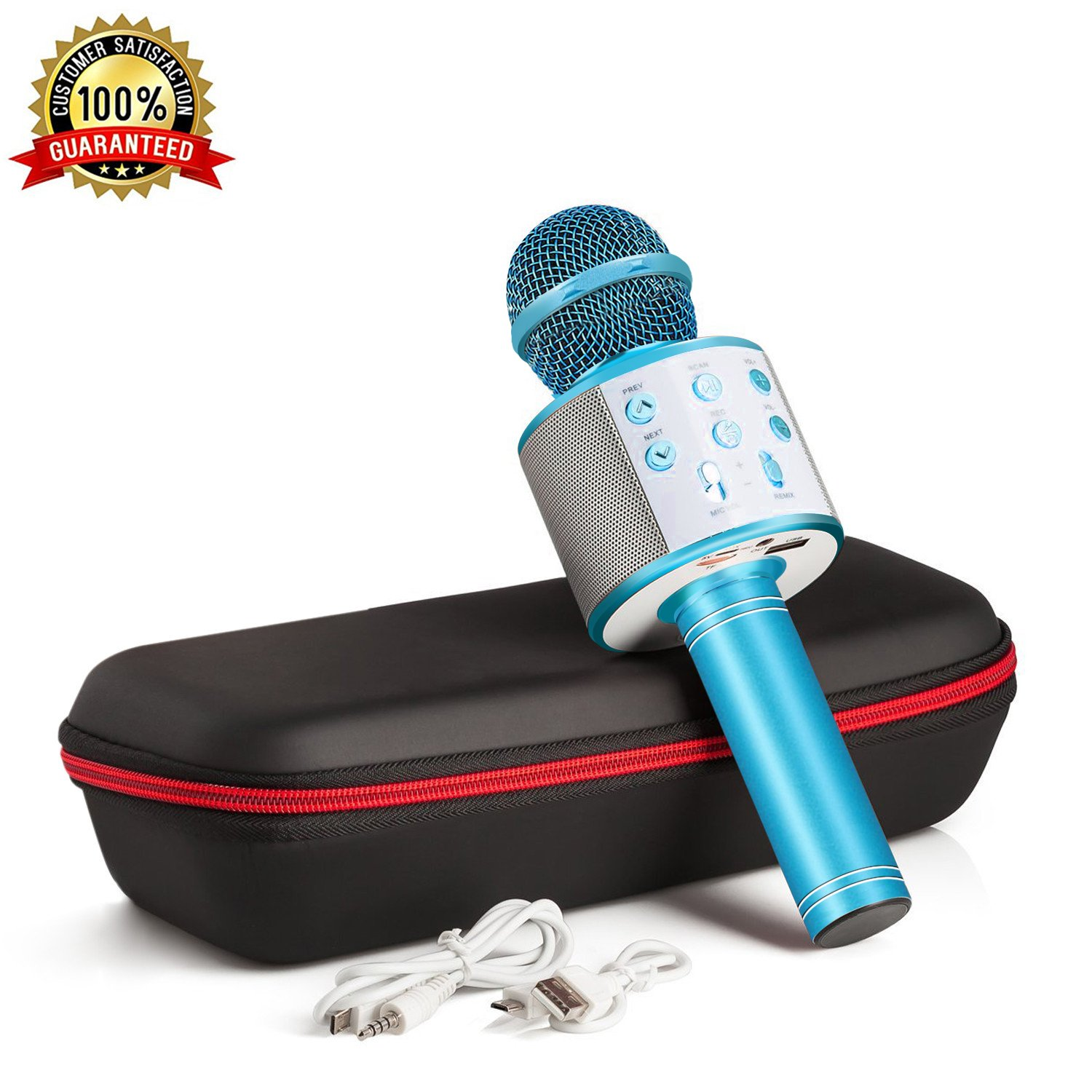 Karaoke Microphone Wireless With Bluetooth Speaker - Instagram 5000+Likes iPhone Android PC Smartphone Portable Handheld Microphone for Singing Recording Interviews or Kids Home KTV Party (Blue)