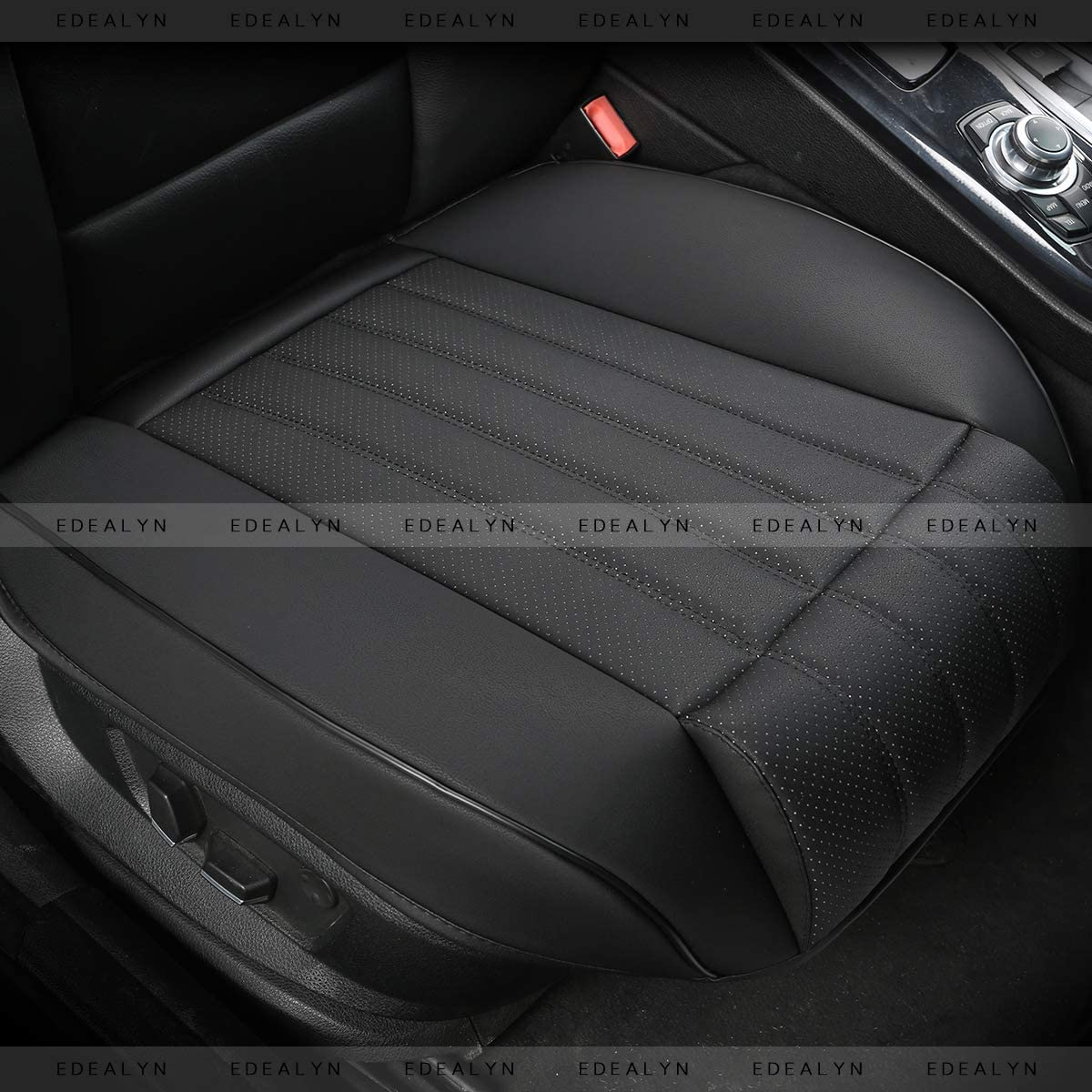 Black Width 20.8 inches by Deep 20.8 inches PU Leather Wrapping Bottom Car Seat Covers with Leg Support -Front Seat Protection Cover Without Backrest 1PCS DINKANUR