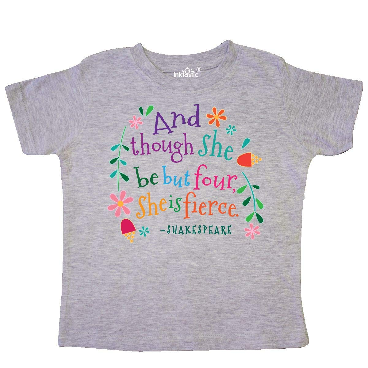inktastic 4th Birthday She is Fierce 4 Year Old Girl Toddler T-Shirt