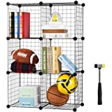 SEVVY - Multi Use DIY Metallic Wire Storage Organiser, Book Shelf, Storage Cabinet, Kitchen Organiser - Black Mesh - 3 x 2