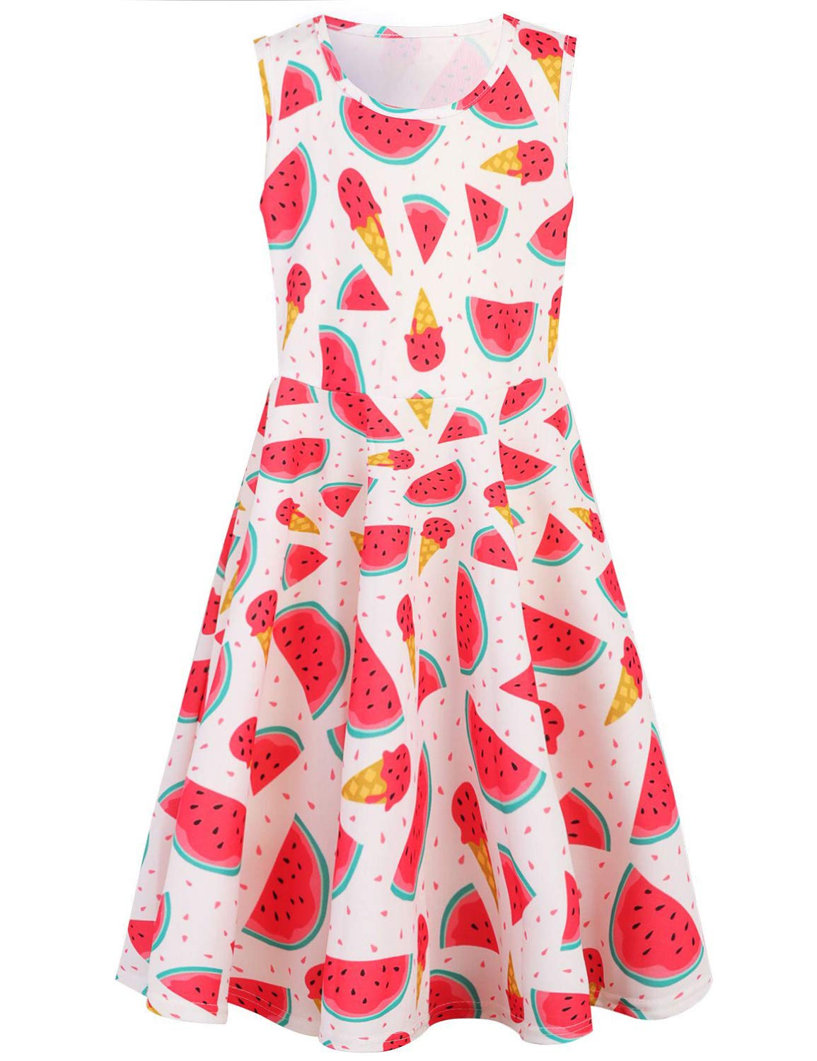 RAISEVERN Cute Girls Summer Dress Sleeveless Sweet Watermelon Ice Cream Design Printing Cool Holiday/Casual/Party Sundress(4-13Years)