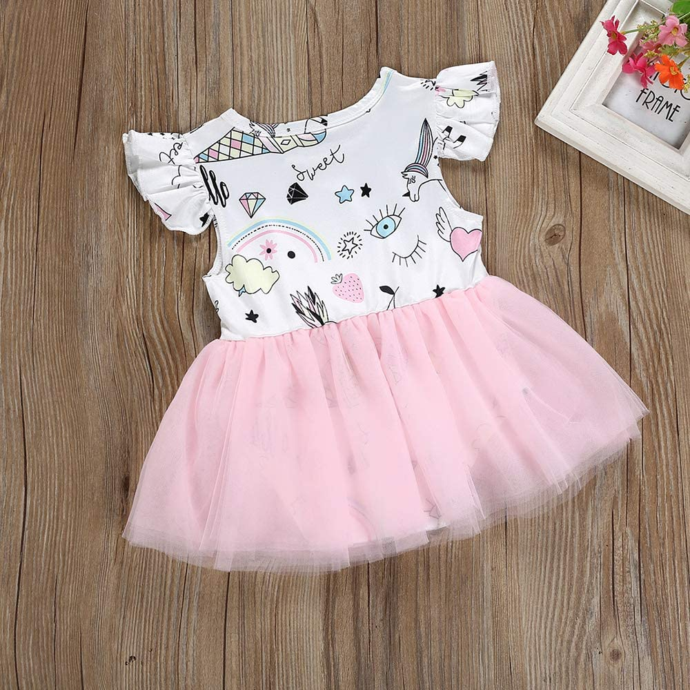 Infant Baby Girls Unicorn Outfit Short Flutter Sleeve One-Piece Romper Tutu Dress Summer Clothes
