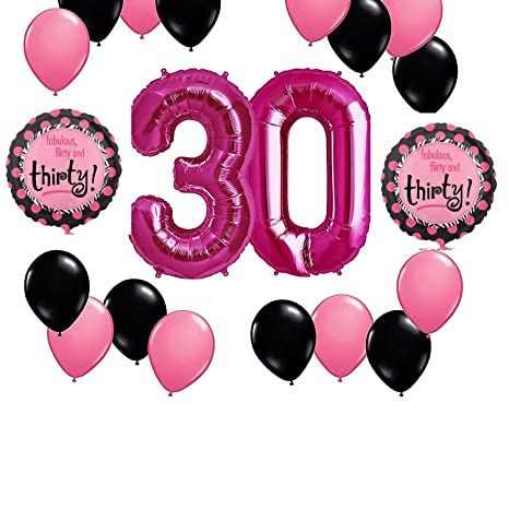 Amazon 20pc BALLOON Set 30th BIRTHDAY Fabulous Flirty Party BLACK PINK Polk Dots Decorations Everything Else