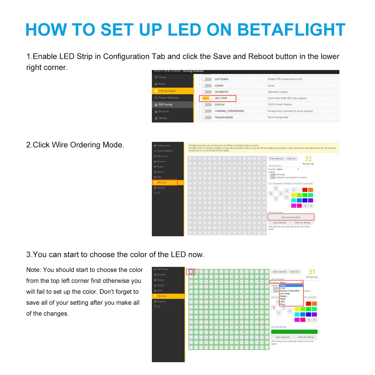 BETAFPV 2pcs LED RGB Light Board 3 3-5 2V Super Bright with 3 Color Race  Wire for FPV Racing Drone Beta75X Beta75 pro 2