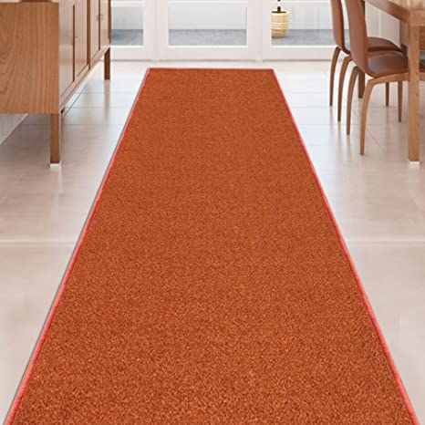Kapaqua BURNT ORANGE Solid Plain Rubber Backed Non Slip Hallway Stair  Kitchen Runner Rug