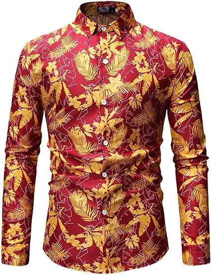 Kuingbhn Camisa de Manga Larga para Hombre Camisa Abotonada ...