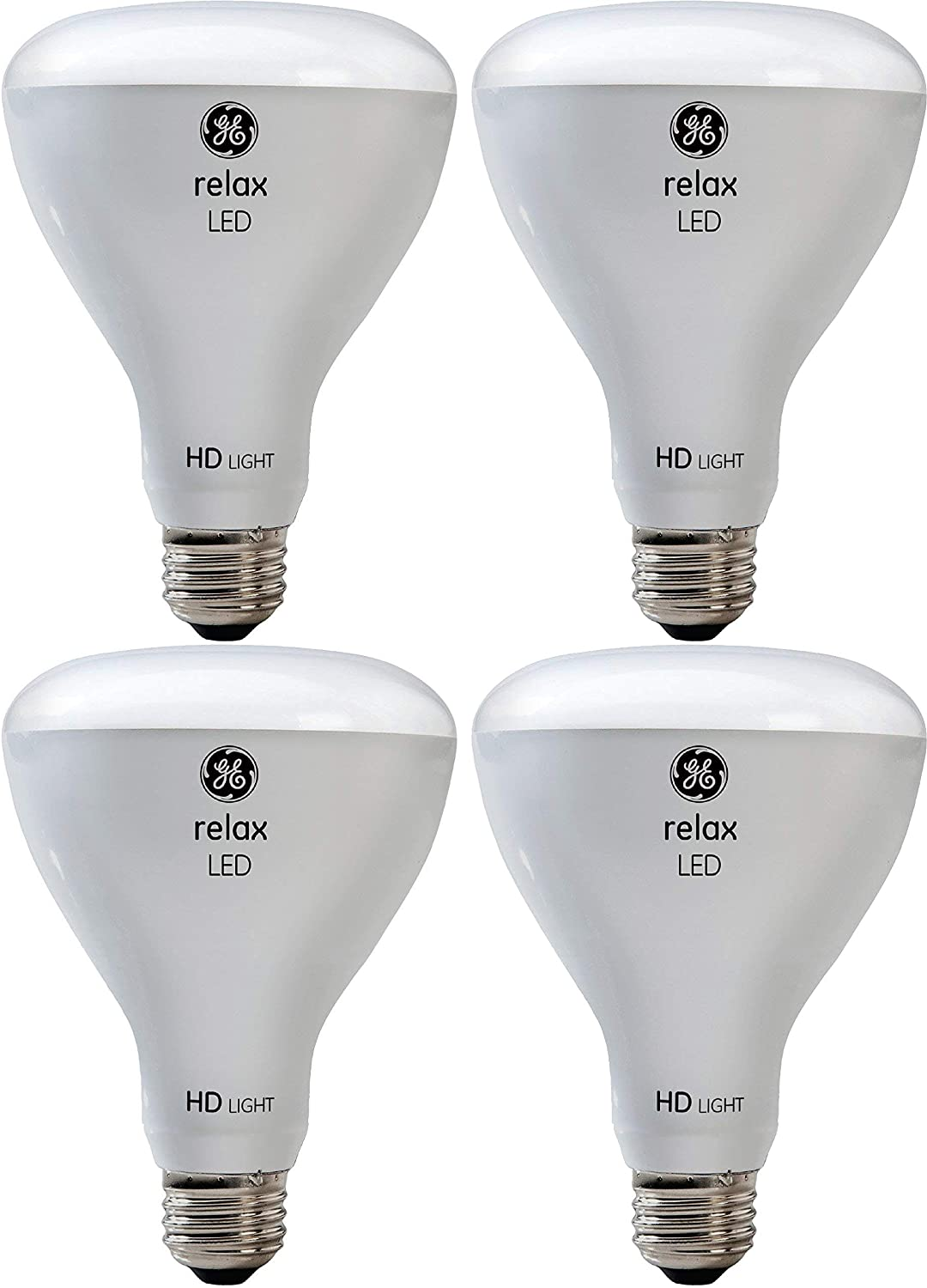 GE Lighting Relax HD LED Light Bulbs, 65W Replacement, BR30 LED Floodlight, 4-Pack, Soft White, Dimmable Flood Light Bulbs, Indoor, Medium Base