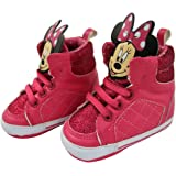 Disney Baby Girls Minnie Mouse Character Infant Shoes, Pink Minnie Mouse High-Top Sneakers, Age 3-12 Months