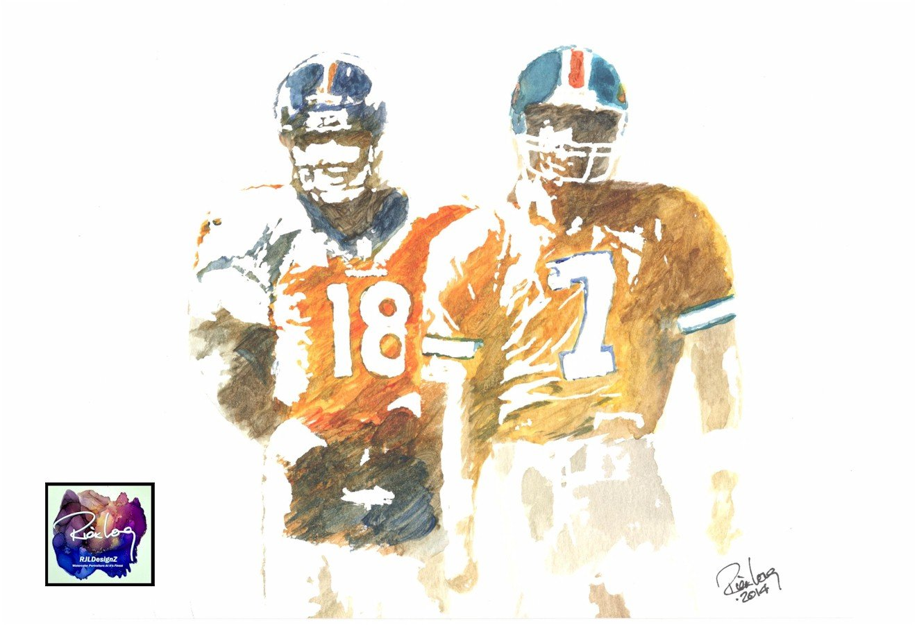 HAND DRAWN Original Artist 8 x 10 Watercolor PRINT Legends featuring PEYTON MANNING JOHN ELWAY. 2015 by Rick Long. Available in 11X14 and 20×30 Prints TOO