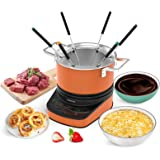 GREECHO Digital Electric Fondue Set — 3.2 Quart Fondue Pot of Stainless Steel Cookware With Temperature Control, 1200W Fondue