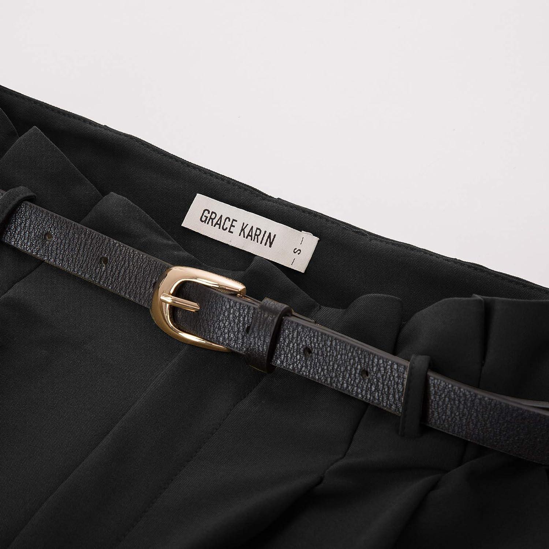 GRACE KARIN Pantaloni Donna a Vita Alta Tagliata Lunghezza da Alta Caviglia con Cintura Ecopelle