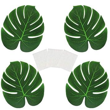 Palmenblätter Deko.Golrisen 48 Stück Tropische Blätter Künstlich Palmenblätter Deko Mit 60 Stück Klebepunkte Für Hawaii Mottoparty Regenwald Hochzeit Tisch