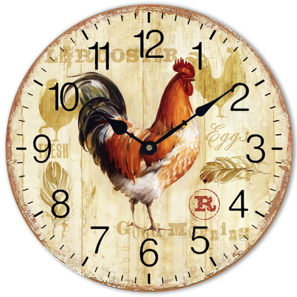 """Wood Clock 12 """" Chicken Rooster Quartz Movement Silent Non-Ticking Wooden Wall Clocks Numerals Large Decorative for Home Bedroom Office Cafe"""