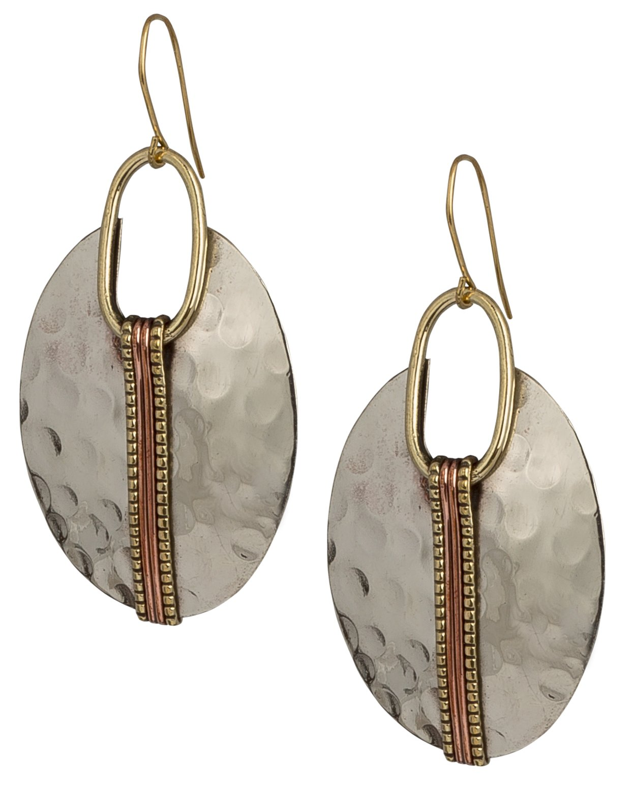 Boho Oval Silver Ethnic Hammered Earring for Women| SPUNKYsoul Collection