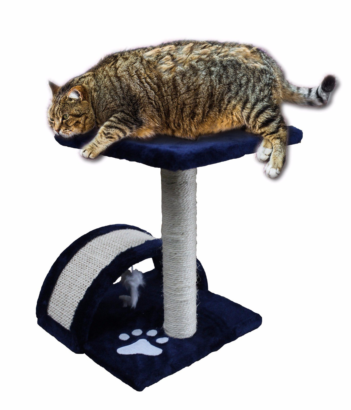 CloudWorks 15'' Small Cat Tree Sisal Scratching Post Furniture Playhouse Pet Bed Kitten Toy Cat Tower Condo for Kittens (Navy Blue) by HIDING