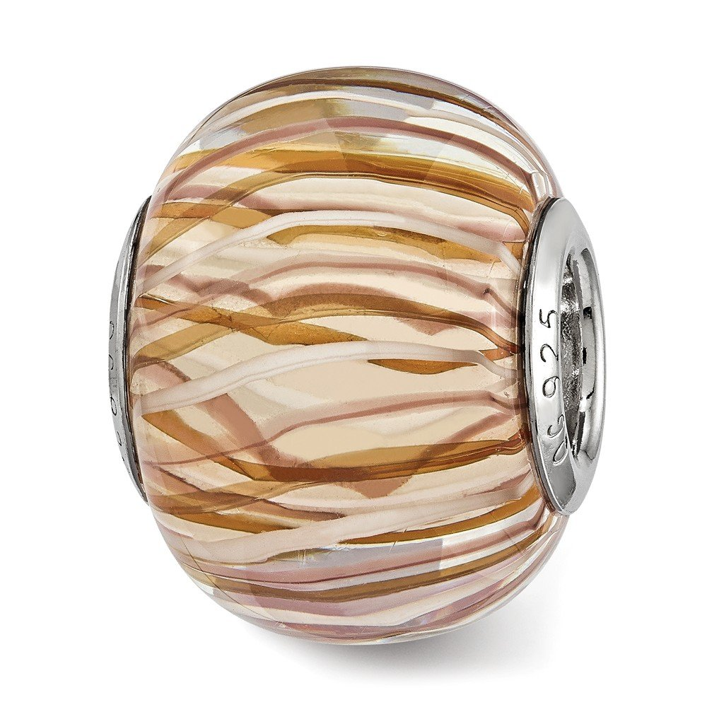 Best Designer Jewelry Sterling Silver Reflections Brown and White Striped Glass Bead