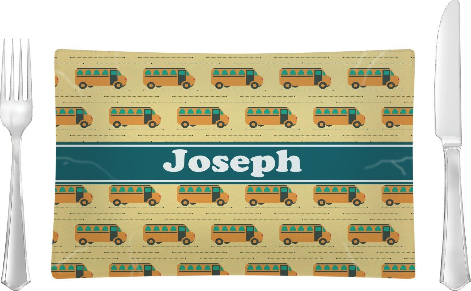 School Bus Glass Rectangular Lunch/Dinner Plate (Personalized)