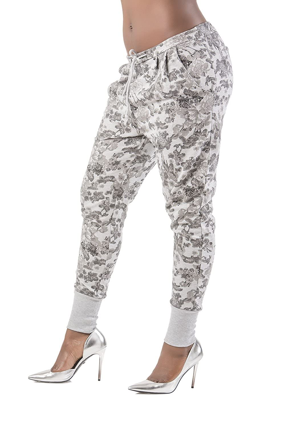 Poetic Justice Curvy Womens Floral Printed Heather Grey French Terry Jogger Pant