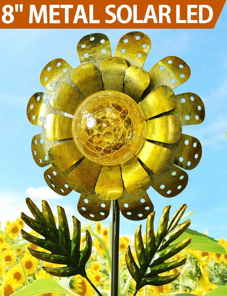 BRIGHT ZEAL 8'' Large METAL & GLASS Solar Sunflower Yard Art - Solar Garden Decorations LED Solar Garden Statue - Solar Lights Outdoor Decor Yard Decorations - Sunflower Lights Solar Garden Decor BZP
