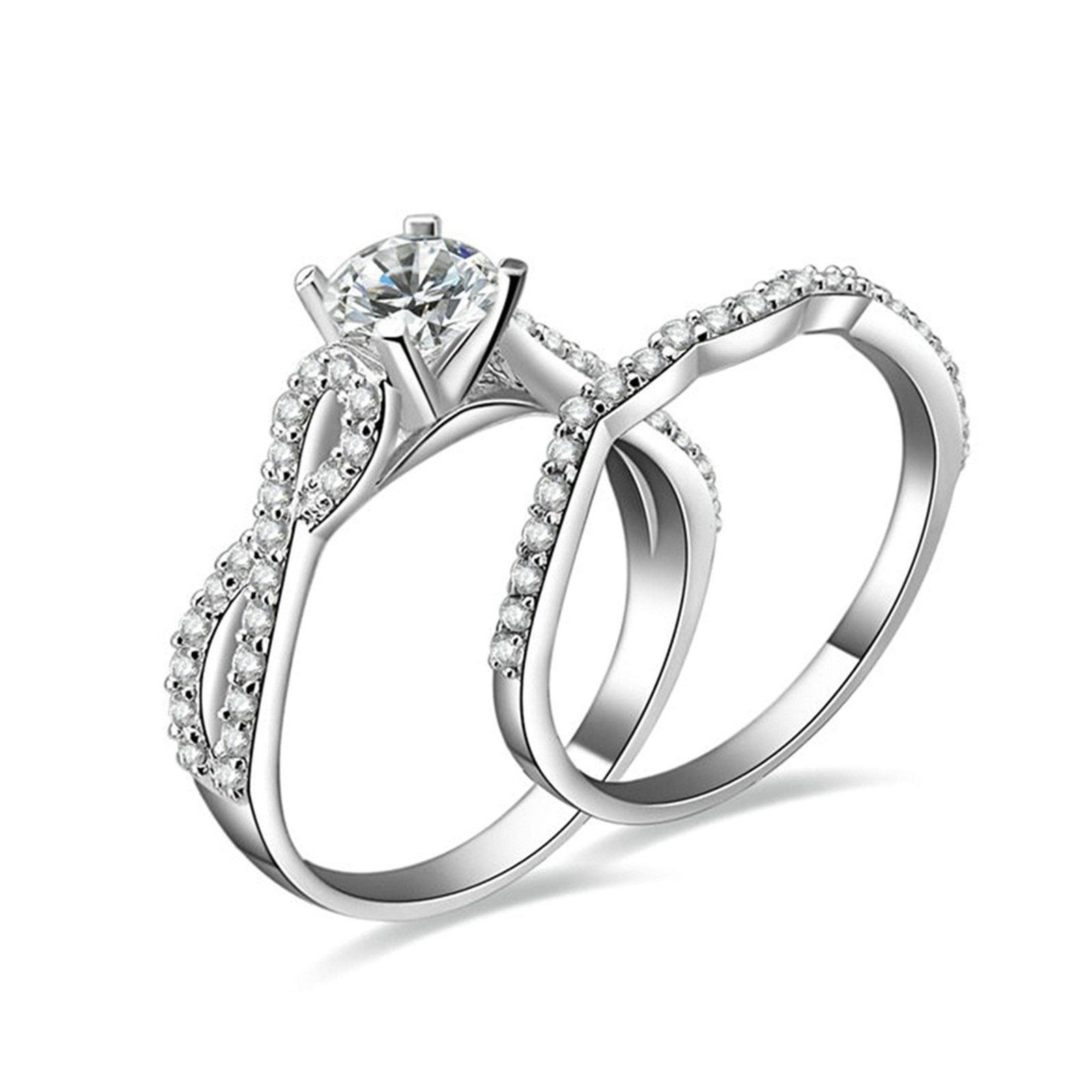 Daesar Wedding Rings 925 Sterling Silver 4-Prong Setting Round Crystal Infinity Ring Set Ring Size 6.5