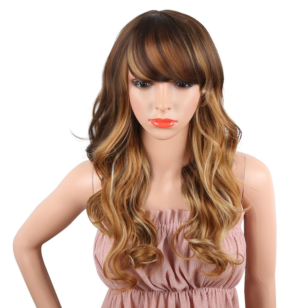 SCENTW Black Long Curly Wig 24inch Synthetic Ombre Wig with Inclined Bangs Cosplay Daily Party Wigs for Women Natural as Real Hair (Brown) (1704- HONEY)