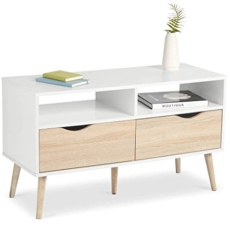 buy popular 984b8 2ee1c VonHaus TV Unit Scandinavian Nordic Style - White and Light Oak Effect TV  Stand, Media Unit, Entertainment & Console Table - Modern, Contemporary ...