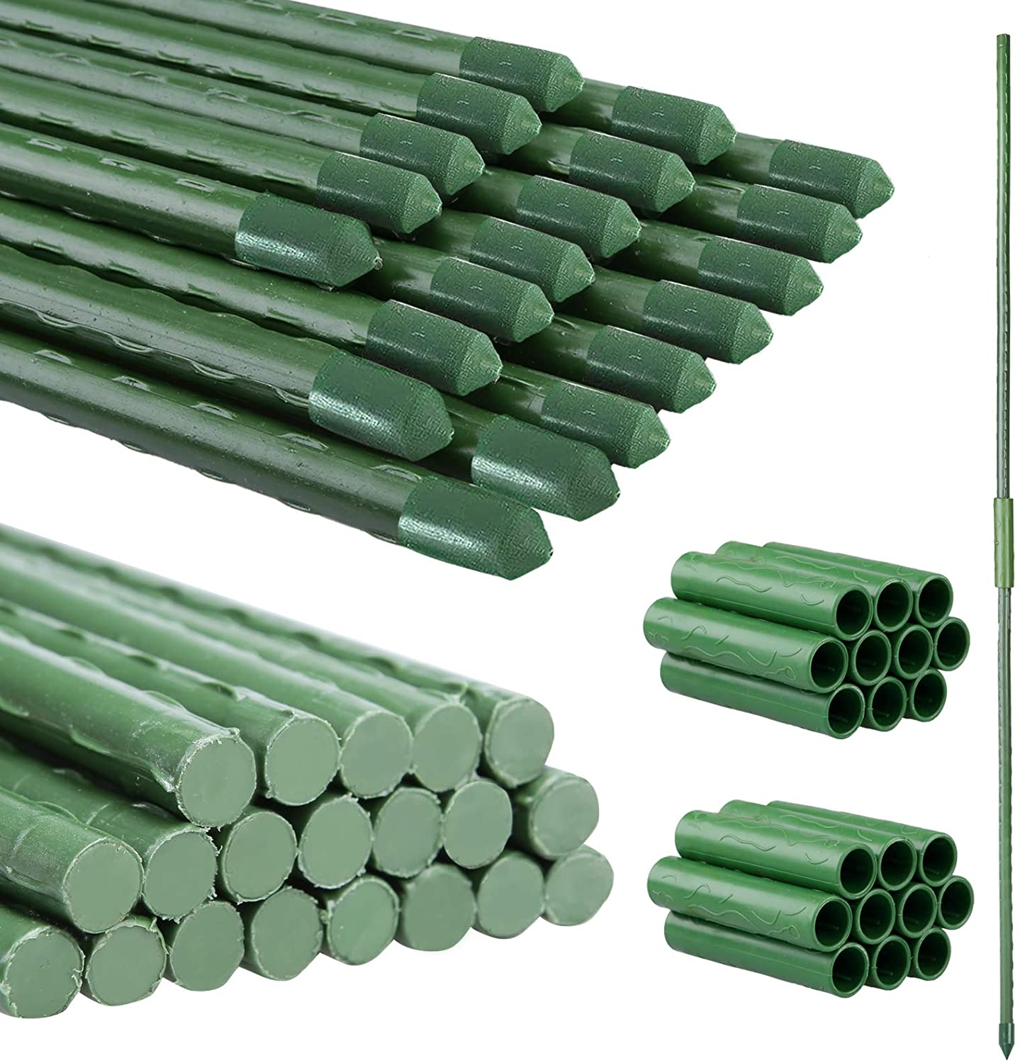 PUTING Garden Stakes with Connectors, 32 Inch 2.7ft Steel Plant Stakes with Plastic Coated for Tomato Support Cage, Pack of 20