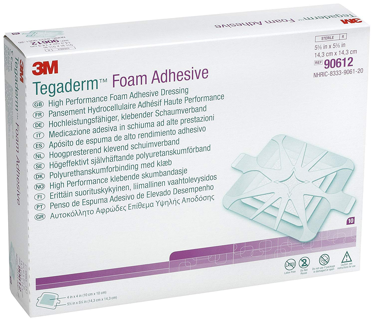 3M Tegaderm High Performance Foam Adhesive Dressing 90612 ,Square (Pack of 40)