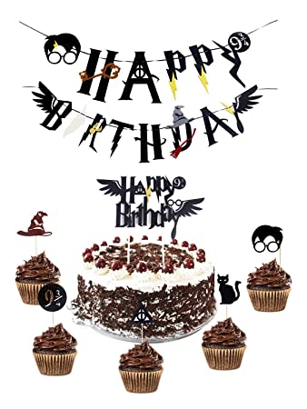 Decorating Tools Harry Potter Inspired Happy Birthday Cake Topper And Cupcake Toppers Decorations Set