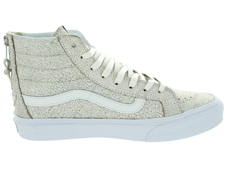 Amazon.com | Vans Unisex Sk8-Hi Slim Zip (Crackle Suede) White Skate Shoe 8  Men US / 9.5 Women US | Skateboarding