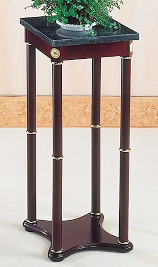 Awesome 28u0026quot;H WOODEN CHERRY WOOD Phone Or Plant STAND W/ Square Green Marble Top Amazing Pictures