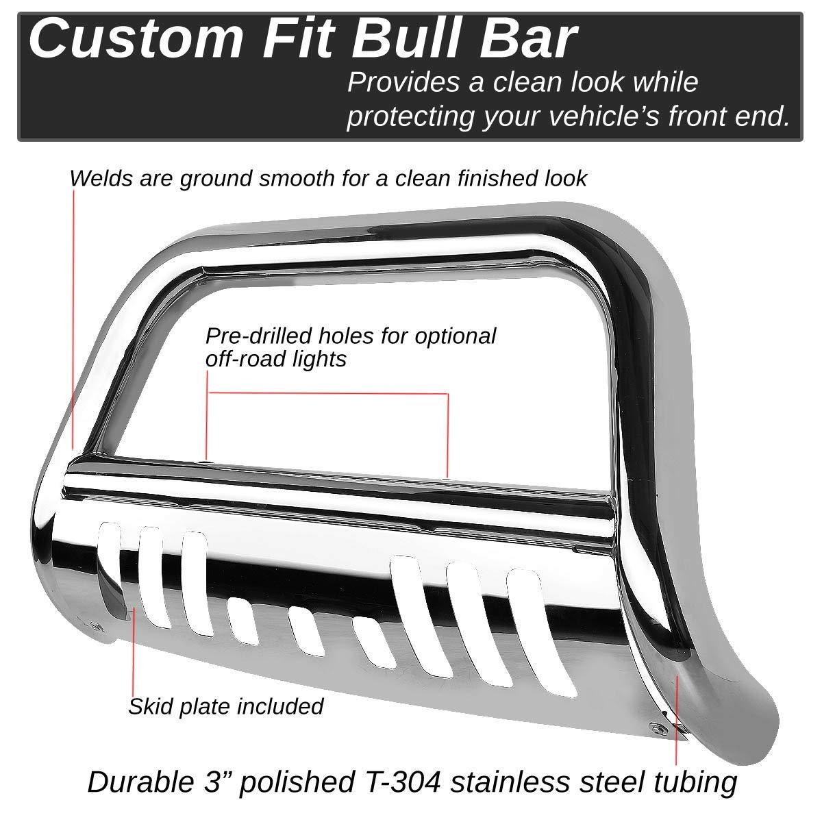 Black For Chevy Silverado//GMC Sierra GMT800 3 Bumper Push Bull Bar+Removable Skid Plate
