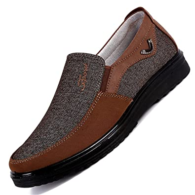 Slip-On Loafer Men Leather Casual Shoes Non-Slip Walking Loafers Boat Shoes Driving Shoes