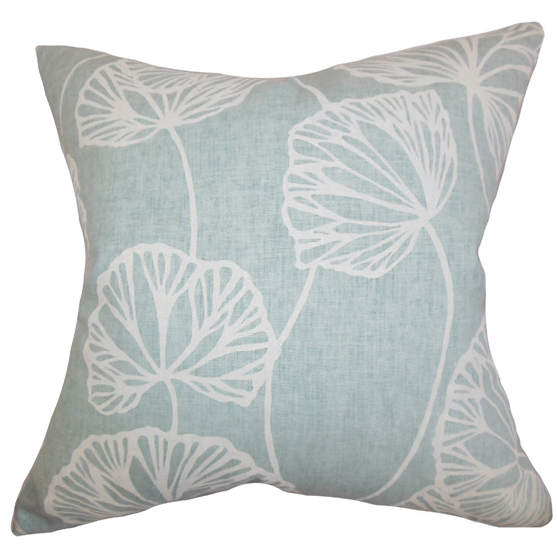 The Pillow Collection EURO-PT-SANDYPOND-SPA-L55C45 Fia Floral Bedding Sham, Blue, European/26'' x 26''